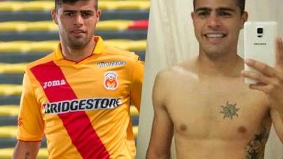 El futbolista uruguayo Martín Alaniz, desnudo completamente