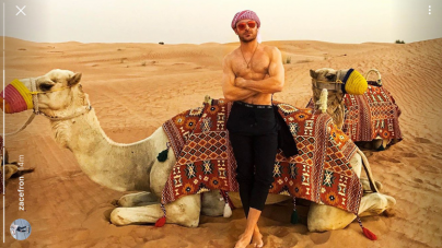 Zac Efron presume su cuerpazo en el desierto de Dubai