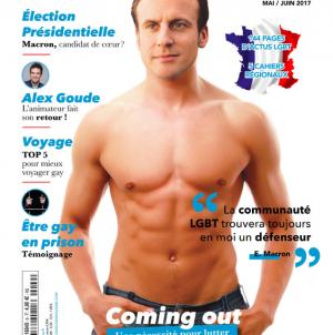 Francia: Emmanuel Macron en la portada gay del próximo presidente