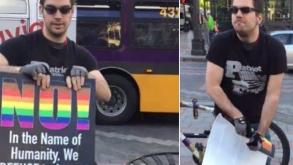 Saboteador intentó romper una pancarta del arcoíris… y no pudo