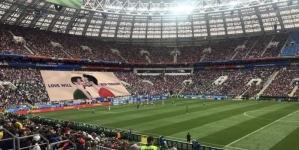 Rusia: Manta gigante en partido de futbol del mundial
