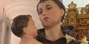 Colombia: Feligreses ponen grito en el cielo por santo maquillado que luce homosexual