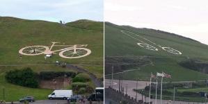 Inglaterra: bromistas convierten una bicicleta gigante de Tour de Gran Bretaña en un pene